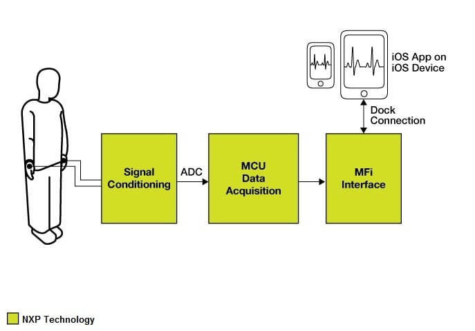 NXP<sup>&#174;</sup> Electrocardiograph Accessory Application Block Diagram