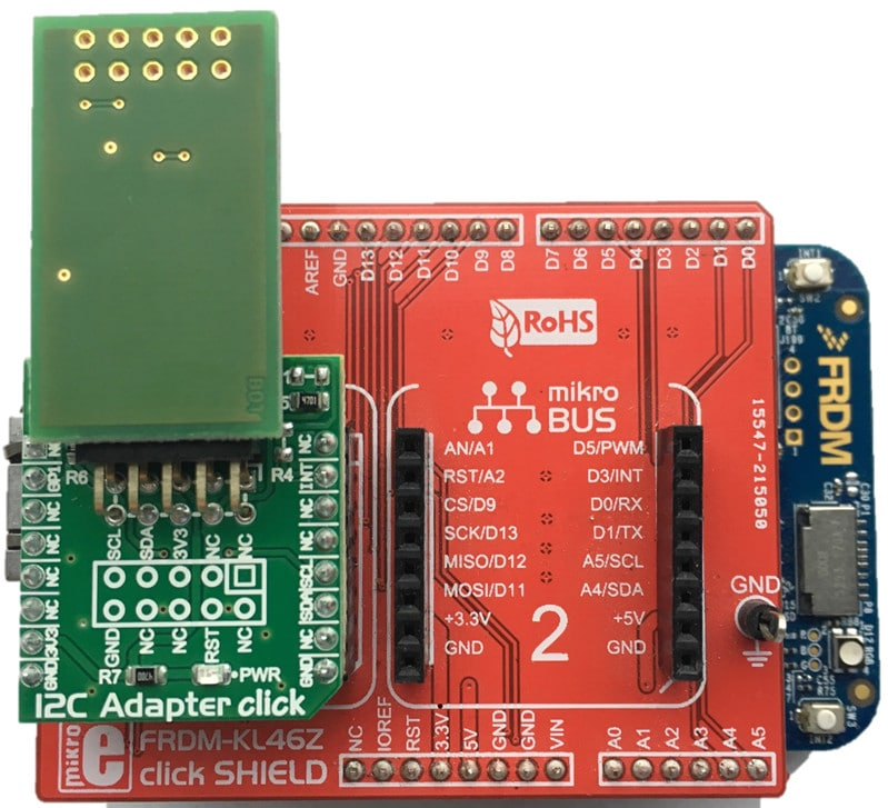 HomeKit Software Development with NXP Freedom Boards (with KL46Z click SHIELD and I2C Adaptor click providing 10-pin I2C connection to the Arduino/FRDM connectors)